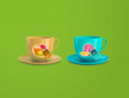 Kunst Handel Tassen bedruckt Kunst als Werbemaßnahme